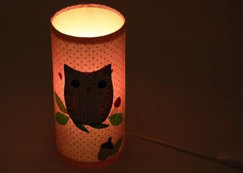 lampe eule rosa gepunktet im laub josefines kinder. Black Bedroom Furniture Sets. Home Design Ideas